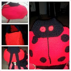 Ladybug packback I made for my god daughter  www.redheart.com