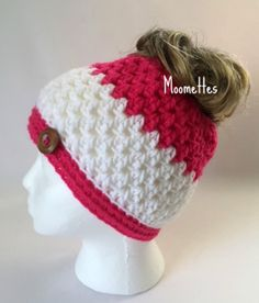 109052d7e16 Handmade Messy Bun Hat Hot Pink White Stripe Beanie Crochet Wood Button  Runner Jogger PonyTail Headband