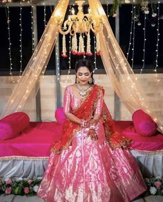 South indian bride, Telugu bride, half saree, pattu lehenga, sangeet ceremony Half Saree Lehenga, Pink Lehenga, Saree Dress, Bridal Lehenga, Bride Reception Dresses, Wedding Reception Outfit, Wedding Shoot, Wedding Bride, Wedding Dress