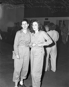 Two young women in uniform returning home from Manila to Brisbane, Australia, 1946.