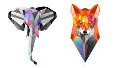 Geometric Animals. Tattoo. Elephant fox