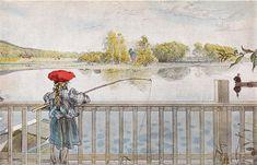 Lisbeth Fishing-(Carl Larsson,Swedish Painter 1853-1919).