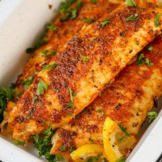 Tilapia starts with an easy homemade blackened seasoning mix. This blackened fish recipe is on the table in under 10 minutes making it the perfect weeknight meal! Baked Tilapia Recipes, Easy Fish Recipes, Baked Fish, Cajun Recipes, Seafood Recipes, Cooking Recipes, Healthy Recipes, Best Tilapia Recipe, Suppers