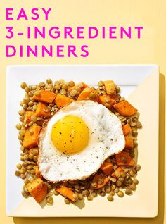 These Are The Easiest Weeknight Dinner Ideas, EVER #refinery29  http://www.refinery29.com/simple-dinner-recipes#slide-2  Tomatoey Chickpea & Spinach BowlServes 2Ingredients1 (15 oz) can of chickpeas, rinsed10 oz spinach (coarsely chopped if fresh and thawed if frozen)2-3 cups tomato sauceOlive oilSaltPepper*Red pepper flakes, optionalInstructions1. In a large skillet cook the spinach with a drizzle of ...