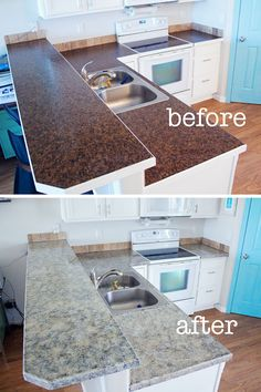This is pretty cool if you want a low budget remodel with a big impact!with love: changing up your kitchen countertops with giani granite countertop paint Outdoor Kitchen Countertops, Granite Countertops, Giani Granite, Kitchen Counters, Faux Granite, Kitchen Redo, New Kitchen, Kitchen Ideas, Kitchen Updates