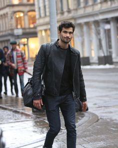nyc // menswear, mens fashion, mens style, street style, biker jacket, leather jacket