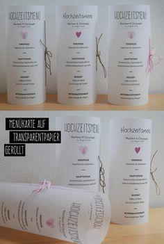Menükarte für den Hochzeitstisch aus Transparentpapier, gerollt und verziert mit Kordel und Schleife / wedding menu on transparent papier