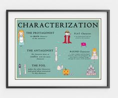 Printable Literature Posters Set - Characterization, Plot and Setting, Classic Tales by PalaeoPrintsStudio on Etsy https://www.etsy.com/listing/200556347/printable-literature-posters-set
