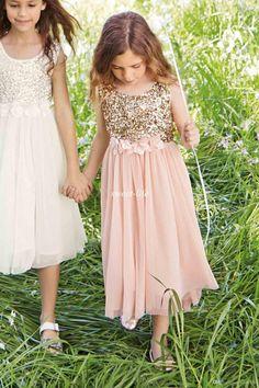 2015 Blush Flower Girls Dresses Gold Sequins Hand Made Flower Sash Tea Length Tulle Jewel A Line Kids Formal Dress Junior Bridesmaid Dress