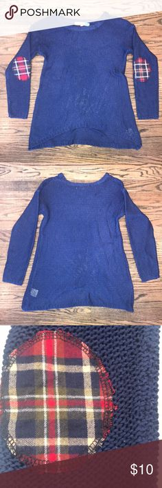 71846fe456d Girls Vintage Havana Sweater 100% Acrylic knit sweater with plaid elbow  patches in very good