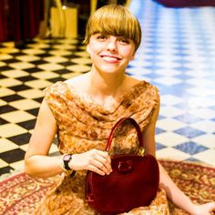 Emily is just adorable in this #1960s cocktail dress clutching a #vintage red reptile bag! http://cabaretvintage.com #vintage #cabaretvintage #toronto #queenwest #style #fashion #beauty