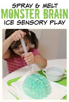 The Monster Brain! Halloween Sensory Play Melt the monster brain ice play no time for flash cardsMelt the monster brain ice play no time for flash cards Monster Activities, Autumn Activities For Kids, Fall Preschool, Preschool Science, Science Experiments Kids, Sensory Activities, Science For Kids, Sensory Play, Crafts For Kids