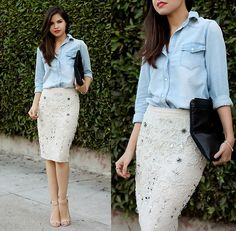 Sheinside Denim Shirt, 3.1 Phillip Lim Neoprene/Leather Clutch, Zara Rhinestone Embroidery Skirt, Zara Nude Sandals