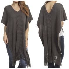 Knit sweater with fringe detail NWT Knit sweater with fringe detail NWT Sweaters Shrugs & Ponchos