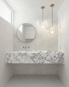 23 Beautiful Bathroom VanitiesBECKI OWENS We have a huge design crush on !Just look at this gorgeous bathroom she designed for Mandy Moore's insanely beautiful mid-century modern house. Mid Century Modern Bathroom, Modern Bathroom Design, Modern Interior Design, Bathroom Interior, Bathroom Designs, Bathroom Ideas, Modern Bathrooms, Master Bathrooms, Bad Inspiration