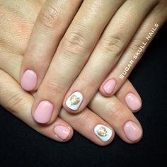 Gel overlay with gold heart nailart