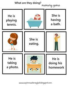 Present Continuous – ideas – Funglish English Classes For Kids, Kids English, English Study, English Time, Learn English, English Writing Skills, English Vocabulary, English Grammar, Grammar For Kids