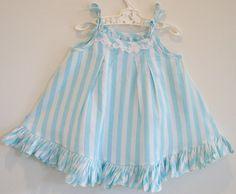 Upcycled toddler sundress blue and white by bananaorangeapple,