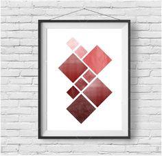 Geometric Print, Geometric Wall Art, Geometric Poster, Red Print, Marsala, Red Art, Textured Print, Burgundy Print, Red Poster, Minimalist