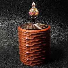 jS- Mopane Box made on the rose engine lathe by Jon Sauer. Wood Lathe, Wood Turning, Flask, Restoration, Projects To Try, Perfume Bottles, Woodworking, Ornaments, Engine
