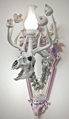 Adam Wallacavage  Dudeleplex mirror and light skull combo