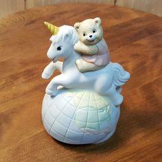 Vintage UNICORN w/ Teddy BEAR Revolving MUSIC BOX ~ Ceramic Bisque #Unicorn #TeddyBear #Ceramic #Music #Box