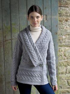Women's Deep Shawl Collar - Soft Grey
