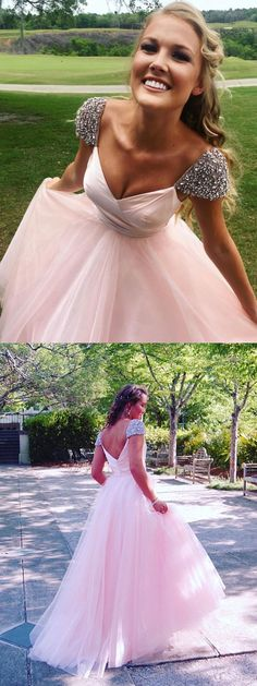 Pink Prom Dresses with Cap Sleeves,Long Prom Dresses,Cheap Prom Dresses,#sheergirl #pink #prom