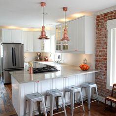 Kitchen. U shape kitchen decoration using nautical copper kitchen light fixtures…