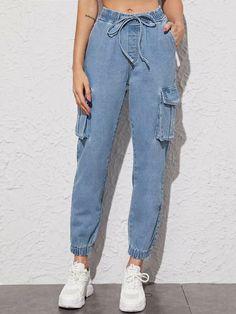 Indian Fashion Dresses, Girls Fashion Clothes, Winter Fashion Outfits, Girl Fashion, Denim Cargo Pants, Types Of Jeans, Cute Comfy Outfits, Ideias Fashion, Drawstring Waist