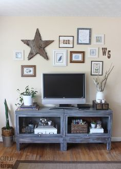 ANOTHER WINNER!! ---- Industrial TV Cabinet And Picture Wall - CURB TO REFURB