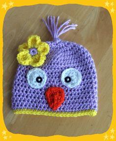 Bird Hat, Baby Hat, Easter Beanie, Spring Cap for Baby, Flower Accent, Crocheted Baby Bird Hat, baby Girl Birdie Hat
