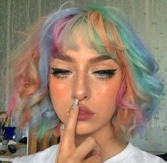 Short Grunge Hair, Alternative Makeup, Alternative Fashion, Hair Streaks, Dye My Hair, Aesthetic Hair, Brown Aesthetic, Rainbow Hair, Pretty Hairstyles