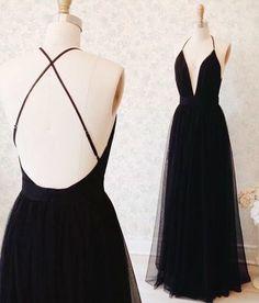 Backless Prom Dress,Spaghetti Prom Dress,Black Prom Dress,Maxi Prom Dress, Sexy Evening Dress,Cheap Prom Dress, 2017 Prom Dresses