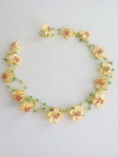 Free Shipping Yellow Daisy Necklace Floral by ANATOLIANDESIGN01, $39.90