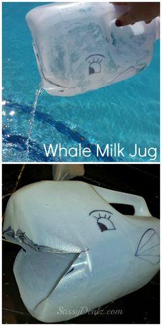 DIY Whale Milk Jug/Carton craft for kids #Summer art project #recycled craft | http://www.sassydealz.com/2013/09/diy-whale-milk-jug-kids-craft-great-for.html