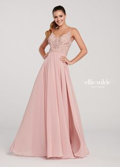 990545d62c6 Chiffon A-Line Prom Gown with a Lace Bodice- EW119132