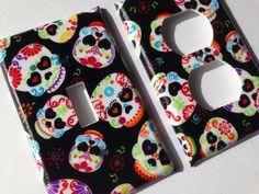 Sugar Skull Single Light Switch Plate Cover/ Day Of The Dead / Sugar Skull Home Decor/ Teen Room Decor / Calaveras / Candy Skull / Kitchen