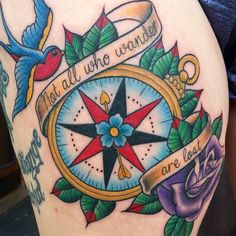 Neo traditional compass tattoo, Not all who wander are lost by Sammysurjaytattoo
