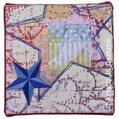 "Americana IX, 5x5"" quilted art on canvas by Kristin La Flamme."