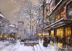 Antoine Blanchard » Grands boulevard et porte st denis sous la neige