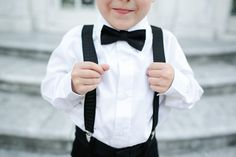 ring bearer (or the little cousins) - bow tie & suspenders. so cute!