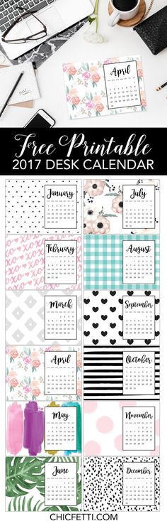 Free Printable Calendar 2017 from chicfetti - free printable desk calendar