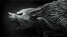 Black and gray beast digital wallpaper, fantasy art, wolf, digital art