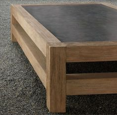 What if the top was a chalk board so the kids could draw on the table?Concrete Coffee Table by Restoration Hardware (discontinued). Solid teak beams + concrete top, x x Concrete Furniture, Concrete Wood, Concrete Countertops, Furniture Projects, Wood Projects, Diy Furniture, Furniture Design, Cement, Polished Concrete