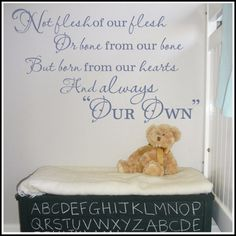Adoption Poem Vinyl Wall Decal  Created by A Great Impression, poem uniquely written by Mary Zimmer