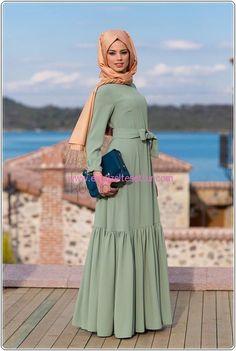 uzun kollu çağla yeşili elbise