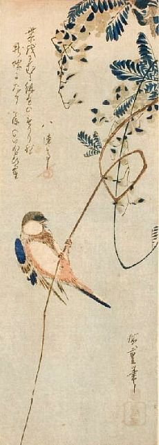 """Finch on Wisteria Vine"" by UTAGAWA Hiroshige (1797-1858), Japan 歌川広重"