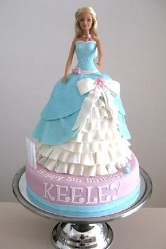 How crazy! My Keeley is turning 3 and wants a Cinderella/Princess party! I'm making a doll cake. I searched Cinderella cakes and there is one with her name on it! Barbie Birthday Cake, Birthday Cake Girls, Barbie Theme, Barbie Cake Designs, Bolo Barbie, Barbie Doll, Dress Cake, Disney Cakes, Novelty Cakes