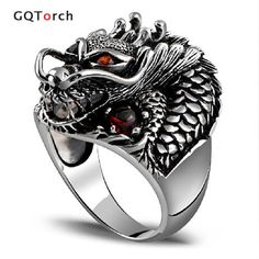 Sterling Silver Dragon Biker Ring With Garnet Natural Stone Red Eyes